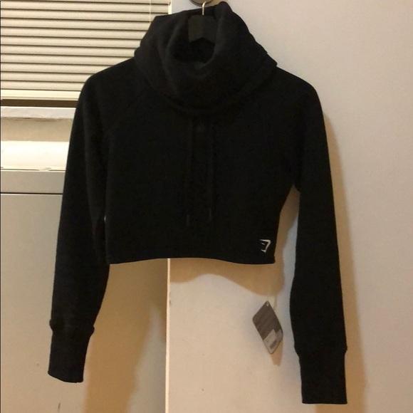 81a6e026ad6de9 Gymshark Tops | Slouch Cropped Hoodie Black Xs | Poshmark